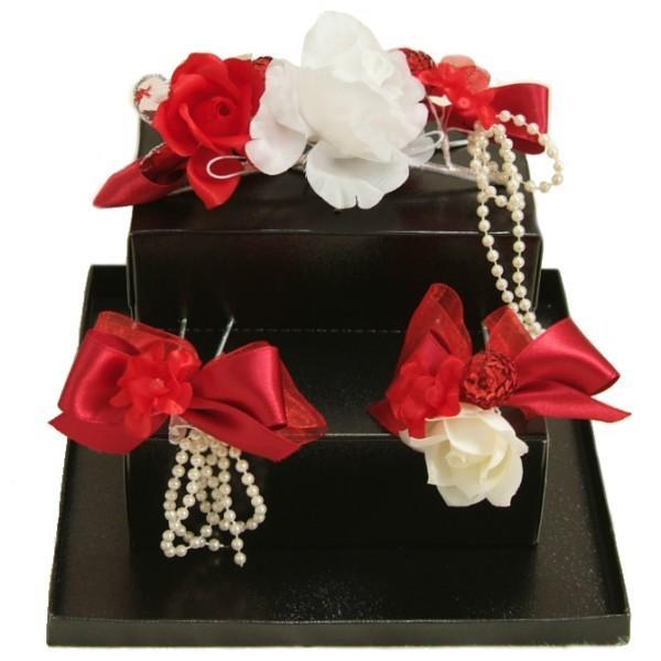 髪飾り 七五三着物 成人式振袖 卒業袴 に最適な和洋兼用タイプ 3点セット 赤 白 パール飾り オーガンジー かんざしピンタイプ 日本製