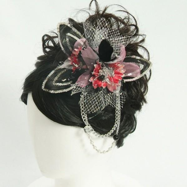 髪飾り 成人式 振袖 七五三着物 卒業袴 ドレスにも使えます ピンクレッド ブラック コームタイプ 日本製