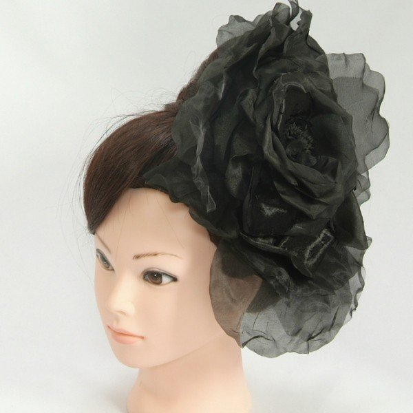 髪飾り 成人式 振袖 七五三着物 卒業袴 ドレスにも使えます ブラック 大華飾り ベロアオーガンジー クリップピンタイプ