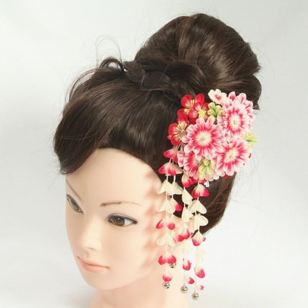 髪飾り 成人式 振袖 卒業袴 七五三 牡丹 ピンク 赤 白 つまみかんざしピンタイプ 日本製