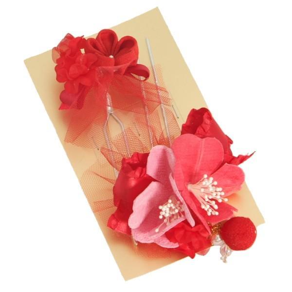 髪飾り 七五三着物 成人式振袖 卒業袴 に最適な和タイプ 2点セット ハイビスカス 赤 ピンク パール飾り付き かんざしピンタイプ 日本製