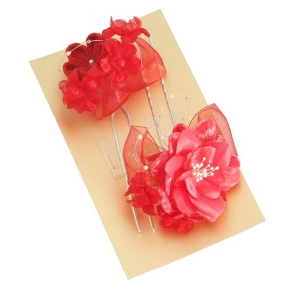 髪飾り 七五三着物 成人式振袖 卒業袴 に最適な和タイプ 2点セット 薔薇モチーフ 赤 ピンク かんざしピンタイプ 日本製