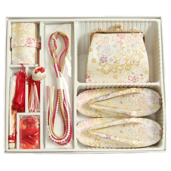 七五三 7歳 草履バッグ筥迫セット 箱セコセット 白地色 雪華文様 バッグに草履の付いた6点セット 日本製