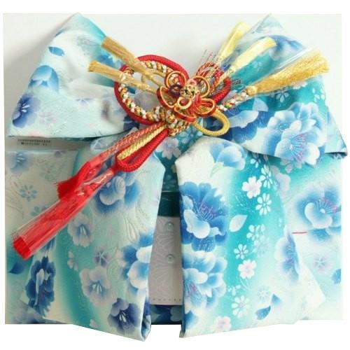 七五三着物用祝い帯 7歳用 濃淡水色グラデーション 胡蝶蘭 牡丹 飾り紐付き 大サイズ 日本製
