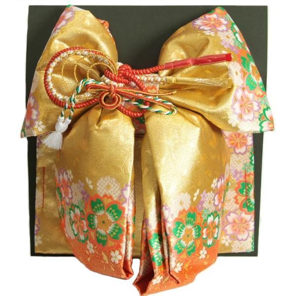 七五三 作り帯 着物 結び帯 7歳 ゴールド朱赤染め分け 桜 飾り紐付き 大サイズ 日本製