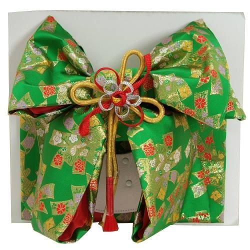 七五三着物用祝い帯 7歳用 グリーン 束ね熨斗 飾り紐付き 大サイズ 日本製