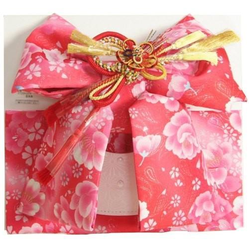 七五三着物用祝い帯 7歳用 濃淡ピンクグラデーション 胡蝶蘭 牡丹 飾り紐付き 大サイズ 日本製