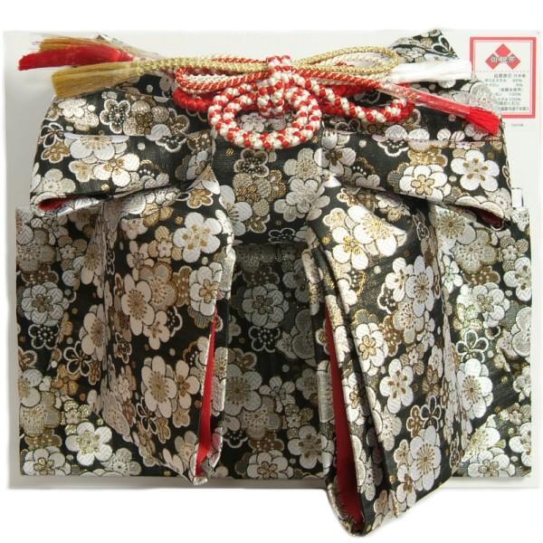 七五三着物用祝い帯 7歳用 黒地 桜柄 三段重ね飾り 飾り紐付き 日本製