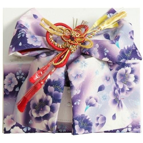 七五三着物用祝い帯 7歳用 濃淡パープルグラデーション 胡蝶蘭 牡丹 飾り紐付き 大サイズ 日本製