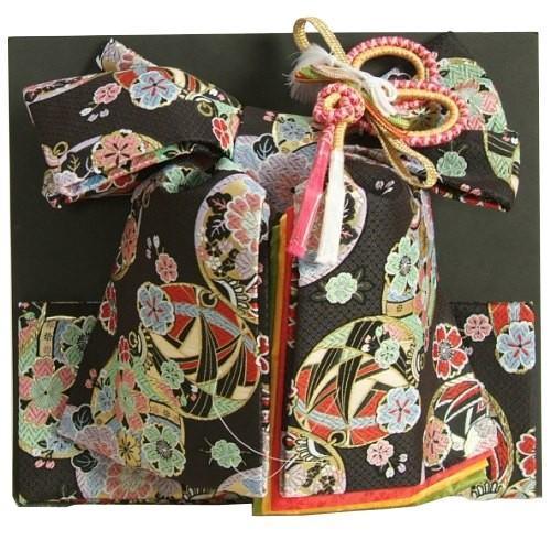七五三着物用祝い帯 7歳用 黒地 まり柄 鹿の子地紋生地 重ね作り仕様 飾り紐付き 大サイズ 日本製