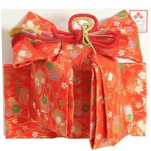 七五三着物用祝い帯 7歳用 赤 桜 立涌柄 飾り紐付き 大サイズ 日本製