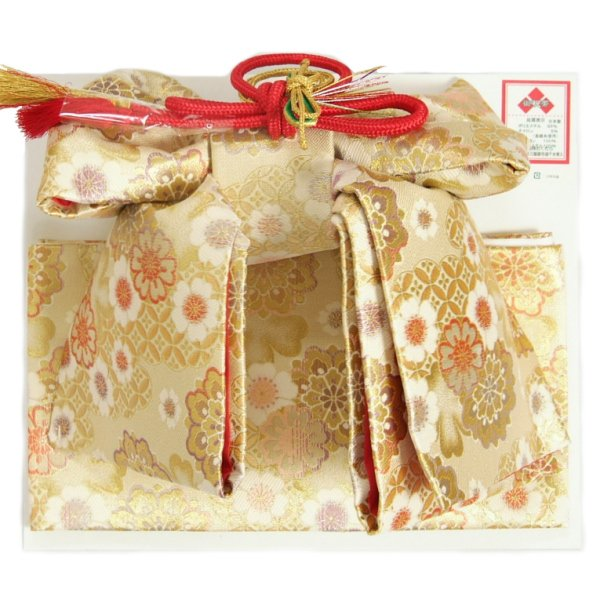 七五三 帯 着物用祝い帯 7歳用 ベージュ金襴友禅文様 七宝唐花 織生地 飾り紐付き 日本製