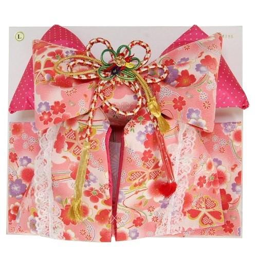 七五三着物用祝い帯 7歳用 ピンク地 桜柄 ちりめん生地 レース付き 飾り紐付き 日本製