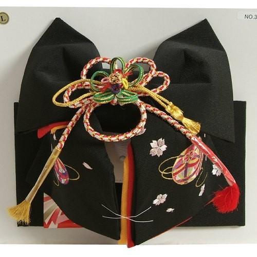 七五三着物用祝い帯 7歳用 黒無地 まり刺繍柄 ちりめん生地 重ね作り仕様 飾り紐付き 大サイズ 日本製