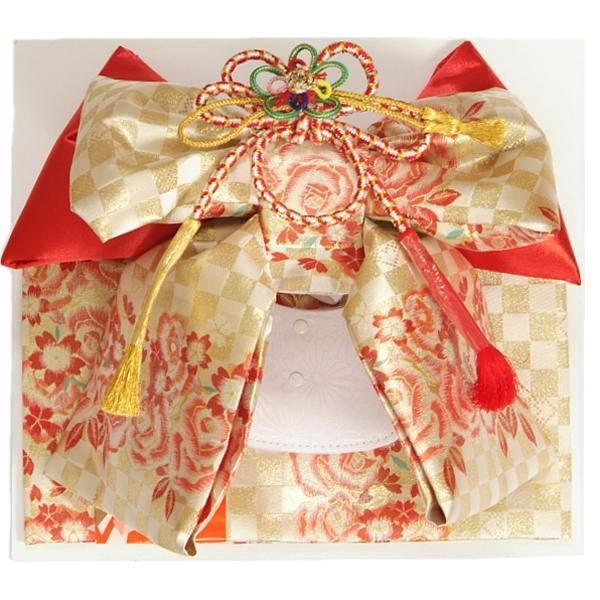 七五三着物用祝い帯 7歳用 ゴールド市松文様 飾り紐付き 日本製 レースありなし選べます