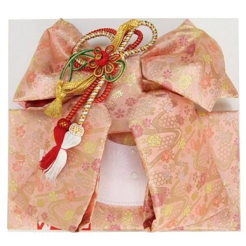 七五三着物用祝い帯 7歳用 ピンク 桜流水柄 飾り紐付き 大サイズ 日本製