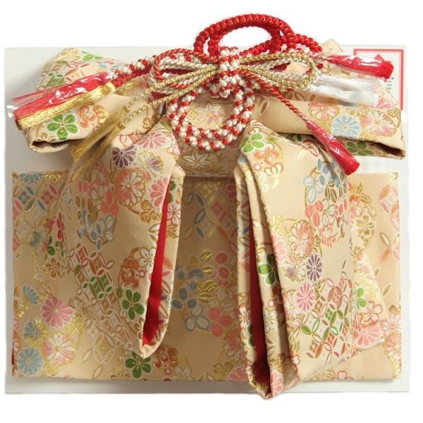 七五三 7歳着物用 祝い帯 作り帯 女の子 ベージュゴールド地 有職柄 飾り紐付き 大サイズ 日本製