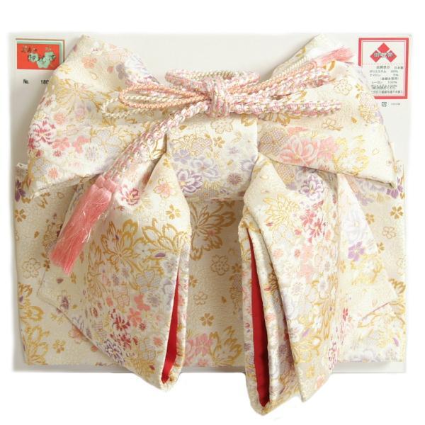 七五三 7歳着物用 祝い帯 作り帯 女の子 白地 雪華柄 飾り紐付き 大サイズ 日本製