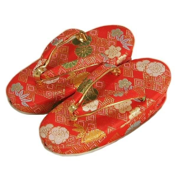 七五三 草履単品 3歳用 赤地色 桜菊文様 かかと鈴使い 小サイズ 日本製