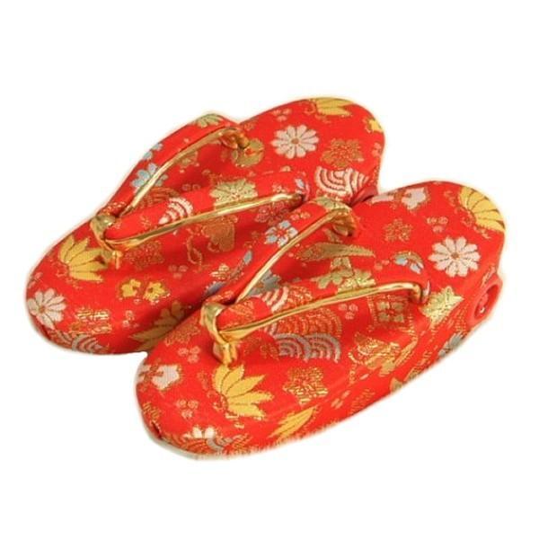 七五三 草履単品 2〜3歳用 赤地色 宝尽くし文様 かかと鈴使い 小サイズ 日本製