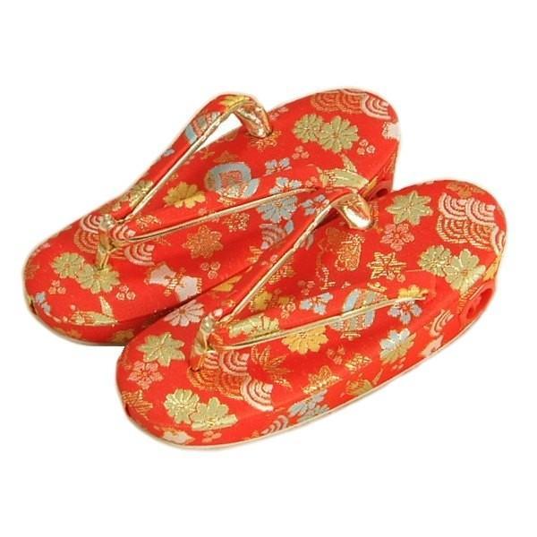 七五三 草履単品 3〜5歳用 赤地色 宝尽くし文様 かかと鈴使い 中サイズ 日本製