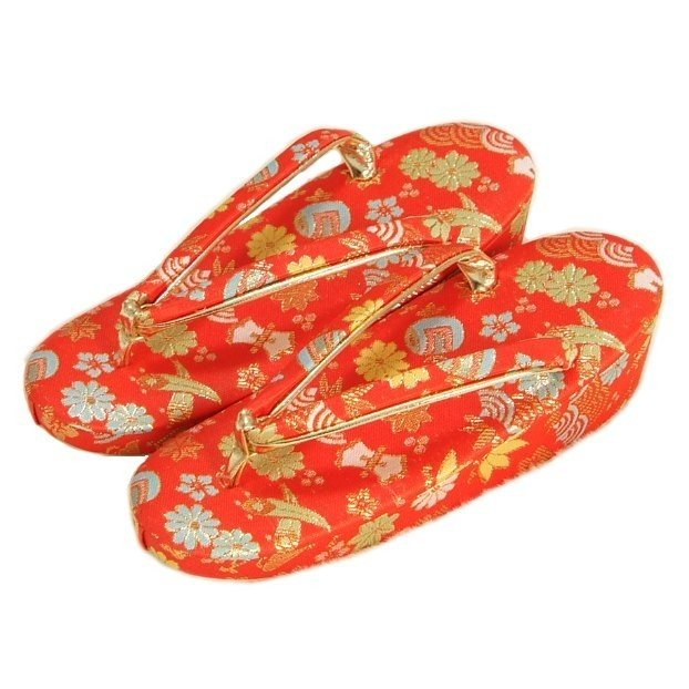七五三 草履単品 7歳用 赤地色 宝尽くし文様 かかと一枚芯 大サイズ 日本製