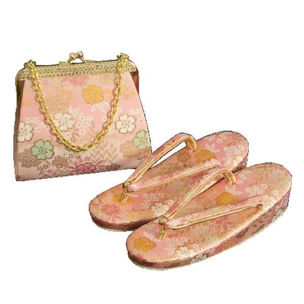 7歳用 七五三に最適な草履バッグセット ピンク色地 友禅文様 日本製