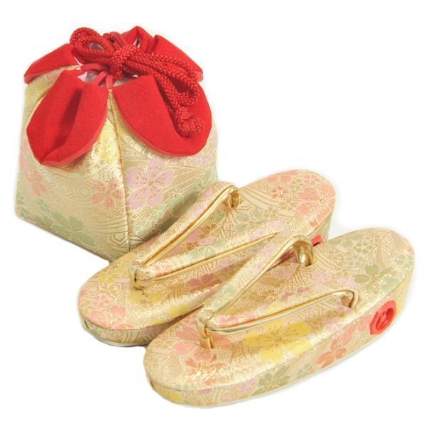 七五三 草履バッグ(きんちゃく)セット 3歳から5歳用 ベージュゴールド 友禅文様 日本製