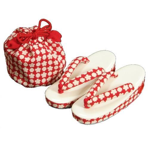 七五三 3歳から5歳用 草履きんちゃくセット 赤 ちりめん地 小桜柄 日本製