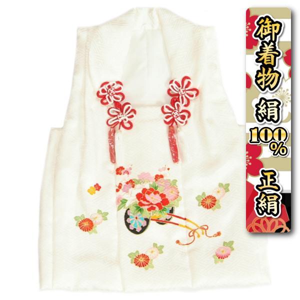 七五三 正絹 被布 女の子 着物 3歳 白 花車 梅 ひな祭り お正月 サヤ地紋生地 日本製