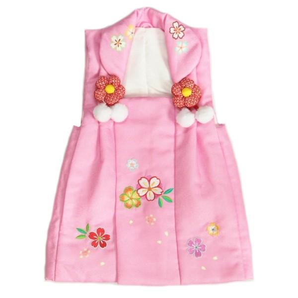 七五三 3歳 被布着 着物 濃ピンク 桜刺繍使い ひな祭り お正月 地紋生地