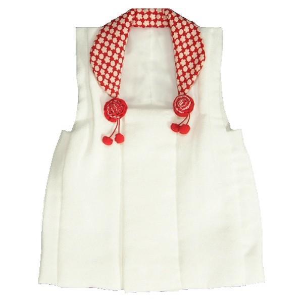 被布 着物 七五三 3歳 白色地 衿赤小桜柄 ひな祭り お正月 日本製