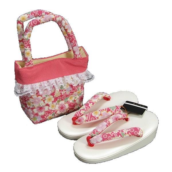 七五三 3歳から5歳用 草履バッグセット ピンク 桜柄 日本製