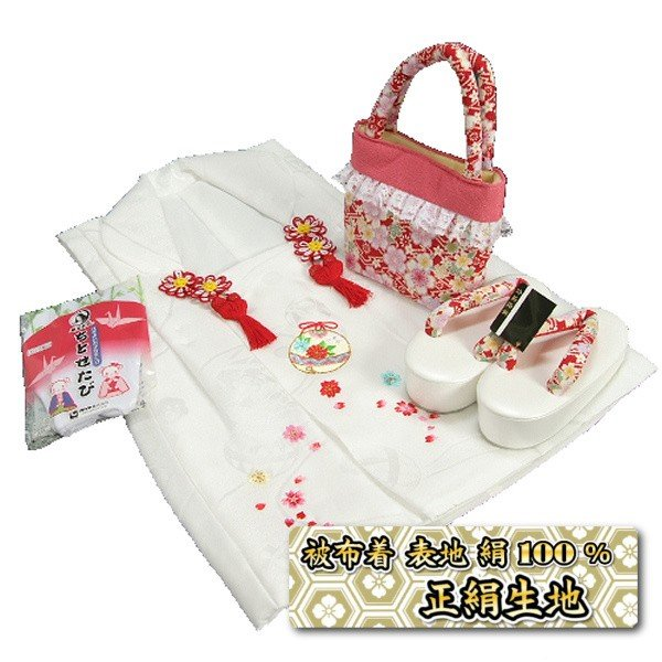 七五三 3歳から5歳用 正絹被布草履バッグセット 赤 桜柄 被布白地 足袋付きセット 日本製