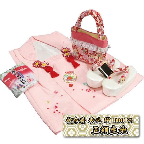 七五三 3歳から5歳用 正絹被布草履バッグセット 赤色 鈴 桜柄 被布ピンク地 足袋付きセット 日本製