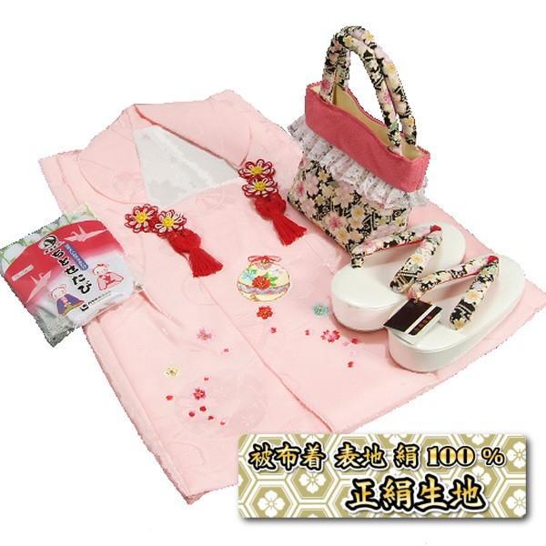 七五三 3歳から5歳用 正絹被布草履バッグセット 黒 鈴 桜柄 被布ピンク地 足袋付きセット 日本製