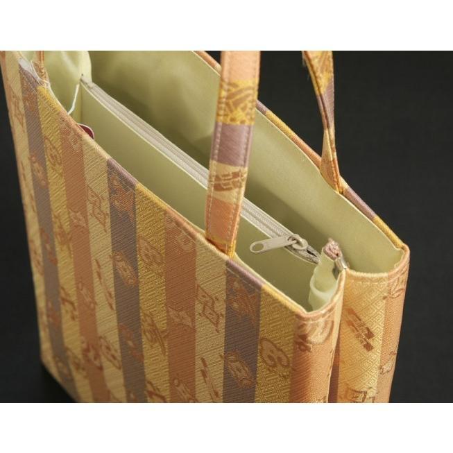 金襴バッグ 和洋兼用 礼装及びカジュアルスタイルのサブバッグ 縦型 宝尽くし文様 手提げタイプ 日本製|doresukimono-kyoubi|04