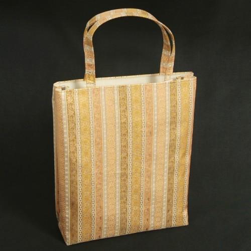 金襴バッグ 和洋兼用 礼装及びカジュアルスタイルのサブバッグ 縦型 小柄有職文様 手提げタイプ 日本製