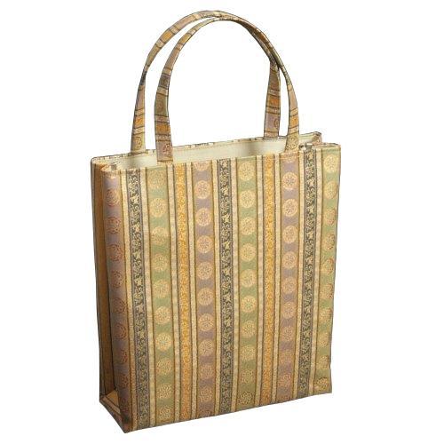 金襴バッグ 和洋兼用 礼装及びカジュアルスタイルのサブバッグ 縦型 源氏車紋文様 手提げタイプ 有職文様 日本製