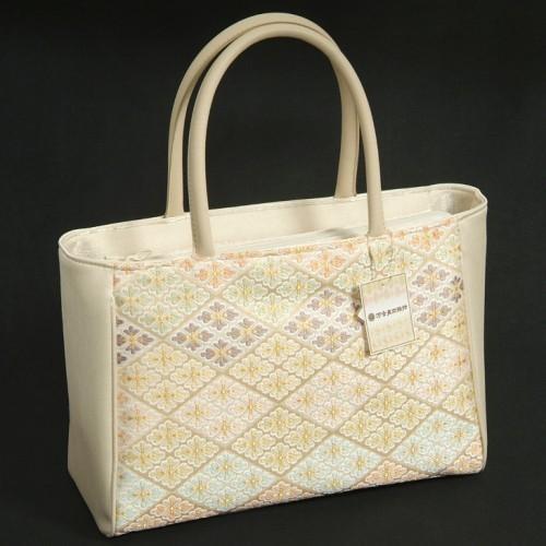 和装バッグ 花繁菱柄 淡金色 横型 絹交織 帯地手提げタイプ 河合美術織物 テフロン防汚加工 日本製