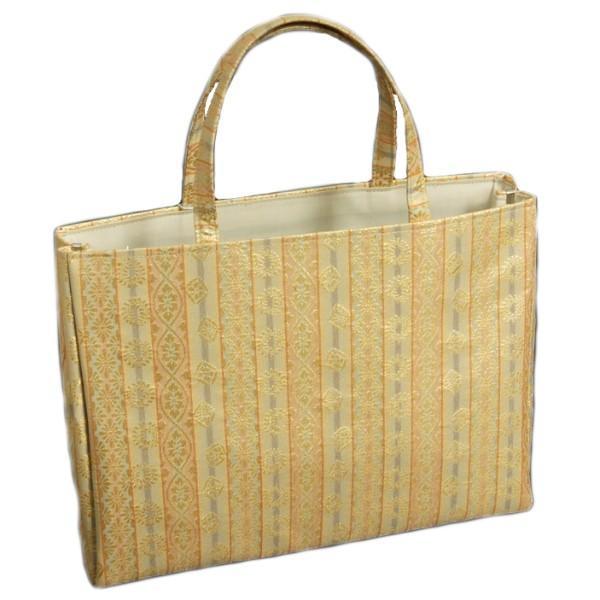 金襴バッグ 和洋兼用 礼装及びカジュアルスタイルのサブバッグ 横型 手提げタイプ 菊菱文様 日本製