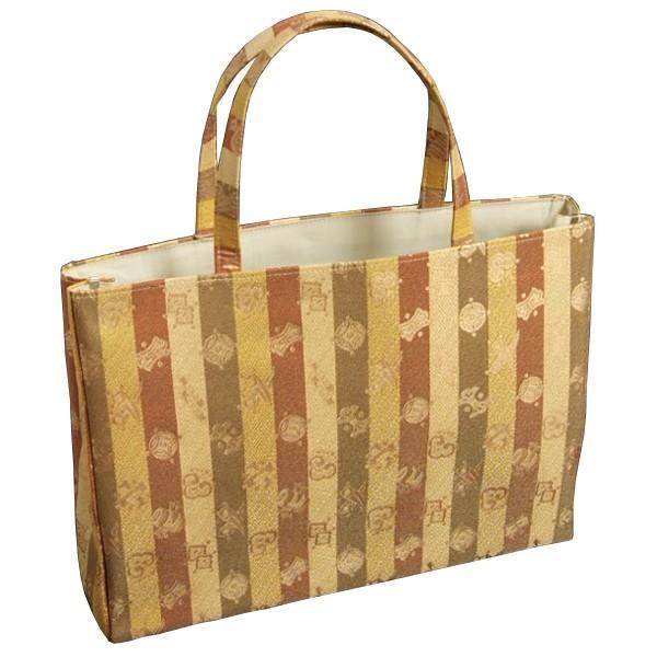 金襴バッグ 和洋兼用 礼装及びカジュアルスタイルのサブバッグ 横型 手提げタイプ 宝尽くし文様 日本製