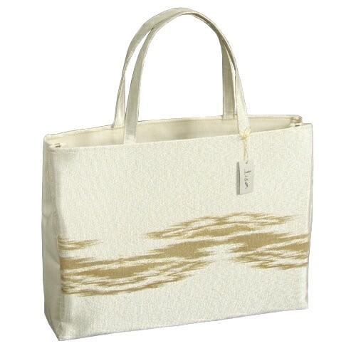 金襴バッグ 和洋兼用 礼装及びカジュアルスタイルのサブバッグ シルバー 横型 手提げタイプ 霞文様 日本製