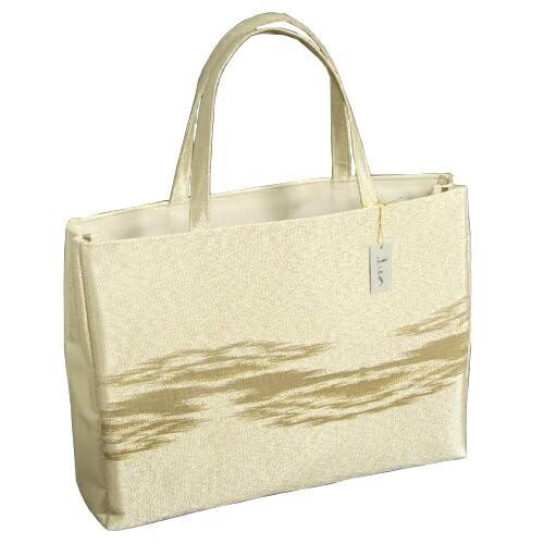 金襴バッグ 和洋兼用 礼装及びカジュアルスタイルのサブバッグ ゴールド 横型 手提げタイプ 霞文様 日本製