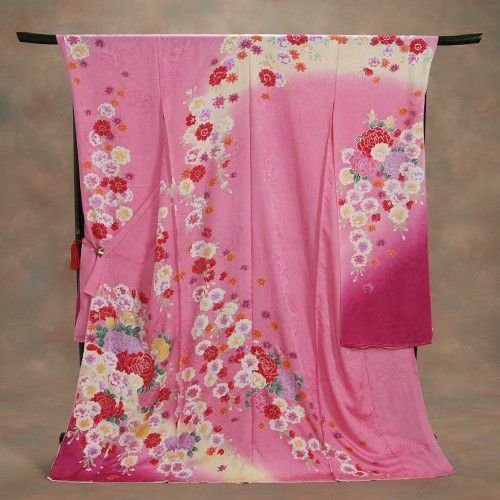 正絹振袖 成人式 ピンク 桜 桜地紋 お仕立て無料 和小物セット付