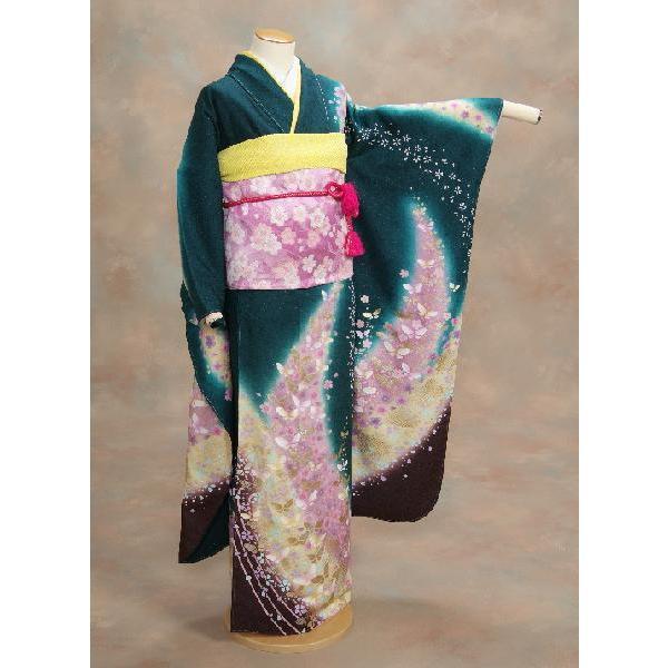 正絹振袖仕立て上がり 成人式 濃グリーン 花蝶流れ柄  和小物セット付