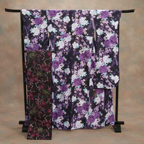 振袖仕立て上がり 黒地に白紫花 熨斗柄 HLブランド 5点セット 成人式 卒業式