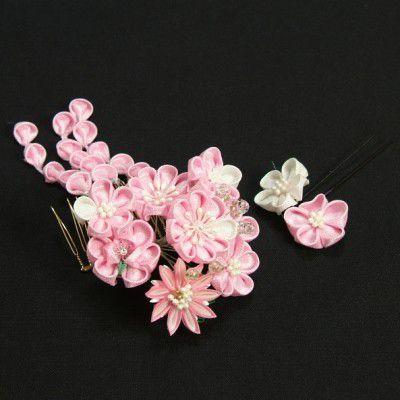 髪飾り 成人式 振袖 卒業袴 七五三 ピンク 白 コーム・ピンタイプ 華垂れ飾り付 2点セット 日本製