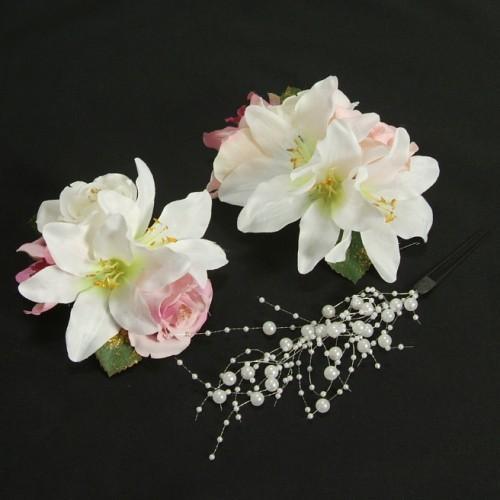 髪飾り 成人式 振袖 卒業袴 七五三 白 ピンク ハイビスカス コーム・ピンタイプ 3点セット 日本製