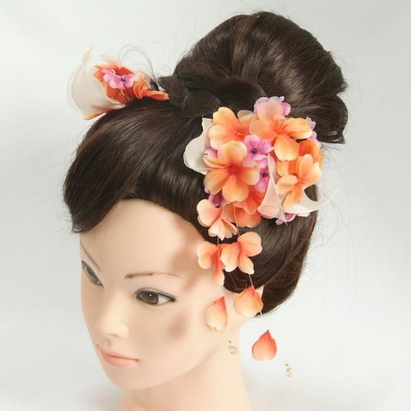 髪飾り 成人式 振袖 卒業袴 七五三 オレンジ パープル コーム・ピンタイプ 2点セット 日本製